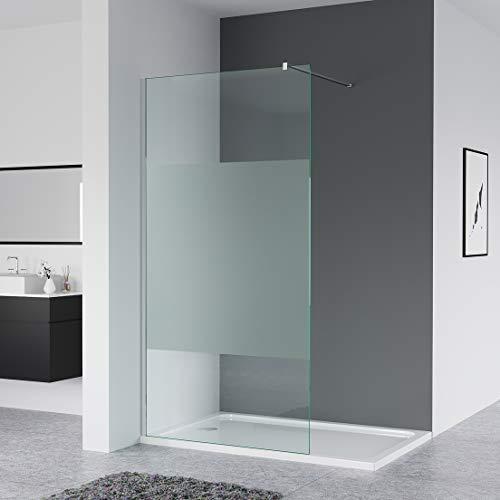 IMPTS Duschabtrennung 120X200 cm walk in dusche glas Duschwand mit Stabilisator teilsatiniert 8mm Nanobeschichtung Sicherheitsglas