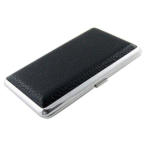 SODIAL(R) Metallrahmen schwarz Kunstleder Zigarette Aufbewahrungskoffer Box