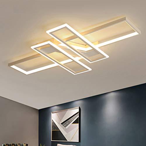 LED Deckenleuchte Dimmbar Wohnzimmerlampe Deckenlampe mit Fernbedienung Modern Acryl Lampenschirm Aluminium Design Leuchte für Schlafzimmerlampe Esszimmerlampe Küchelampe Büro Deko Lampe (weiß)