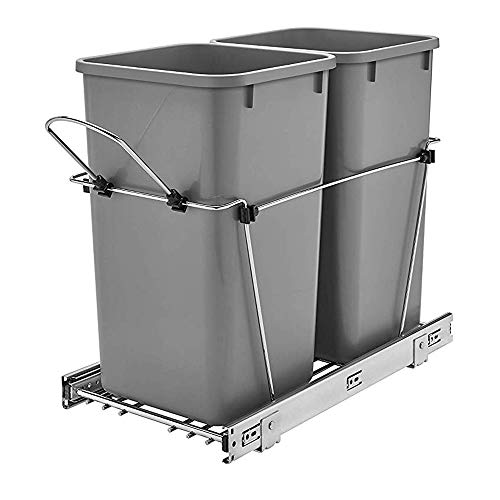Rev-A-Shelf RV-15KD-17C S Double 27 Quart Sliding Pull Out Waste Bin Container for Base Kitchen Cabinet with 11-Inch Opening, Gray
