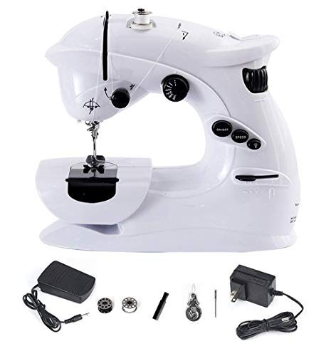 Nynelly Mini Portable Electric Household Sewing Machine for Beginner, Kids,7 Built-in Stitches,Foot Pedal, Perfect for Sewing All Types of Fabrics