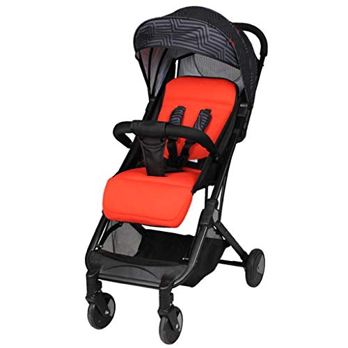 Unbekannt Comfortable Prams High Landscape Stroller, Portable Folding Ultra Light Can Sit Reclining Shock Travel Newborn Baby Stroller Four Colors (Color : Coral Red)
