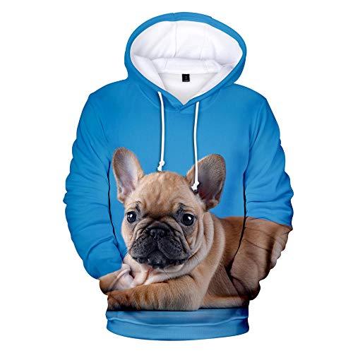 BRILIGHTEN Hoodie 3D Gedruckt Hoodies,Niedliches Brown-Blau der Französischen Bulldogge Langarm Hoodies Leichte Sweatshirt Casual Herbst Atmungsaktiv Jogging Pullover,XL