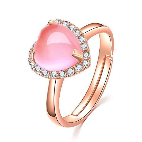 KHOBGLU Damesring Hartvorm Roze Rozenkwarts Verstelbare Ring Sterling Zilveren Damesjuwelen