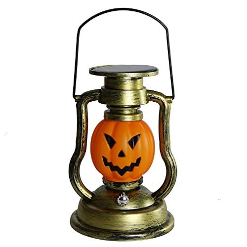 liujuan Farol LED de calabaza solar de Halloween al aire libre de mano de calabaza linterna colgante vintage con llama realista luces LED de noche para jardín, patio, terraza, camino, decoración