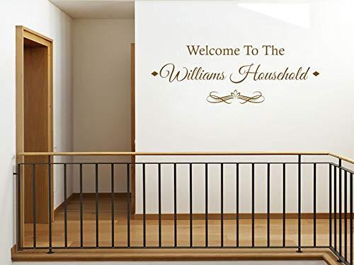 Adhesivo decorativo para pared con texto 'Welcome to Our Home' personalizable en color beige, tamaño XL, 141 cm de ancho x 49 cm de alto 27