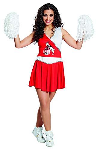 Fancy Ole - Damen Frauen rot weißes Frauen Cheerleader Kostüm mit 1.FC Köln Logo, perfekt für Karneval, Fasching und Fastnacht, S, Rot