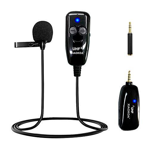 XIAOKOA Micrófono Inalámbrico de Solapa,UHF Micrófono Inalámbrico de Solapa,50 m de Transmisión Inalámbrica,Grabación de Sonido y Video,para Teléfono Móvil y Cámara
