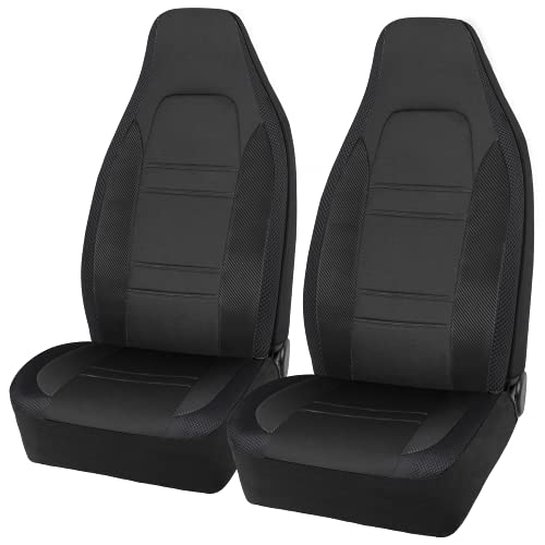 FREMONT AUTO Car Seat Covers High Back, Made with Sports Carbon Fiber & Advanced Mesh Sides Design, Airbag Compatible, Universal Fits for Cars, Trucks, Vans & SUVs (Black)