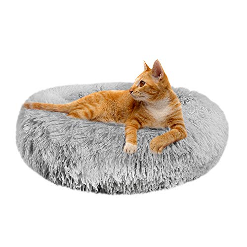 Skrtuan Katzenbett,Katzenbett Waschbar,Rundes Plüsch Hundebett Katzenkissen Flauschig Kuschelbett Hund Hundebett Donut