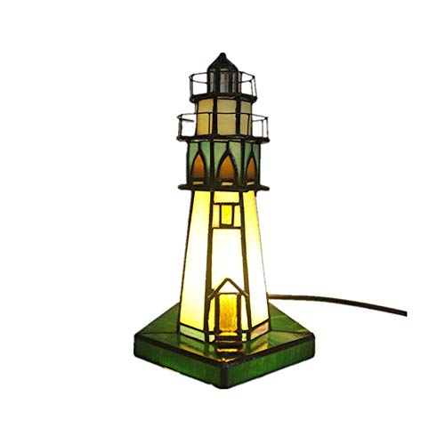 DALUXE Tiffany de Noche de Noche Luz de Noche Glastos Torre Lámpara Negocio Lámparas de Mesa E14 Luces de Escritorio de vidrieras para Cocina Hotel Sala de Estar Dormitorio Lámpara de Lectura