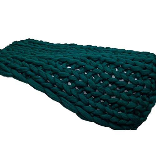Hecho A Mano Gigante Suave Gruesa Gruesa Manta De Punto Acogedora Lanza De Cama, Moda Sofá Mantas Yoga Alfombra Alfombra Decoración Decoración Regalo ( Color : Dark green , Size : 60×71in(150×180cm) )
