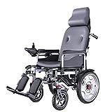 qwertyuio Rollstuhl Faltbar All-Terrain Electric Wheelchair Silla De Ruedas Plegable, Respaldo Alto Con Reposacabezas Que No Puede Recostarse 500W Potente Motor Rueda Delantera Absorción De