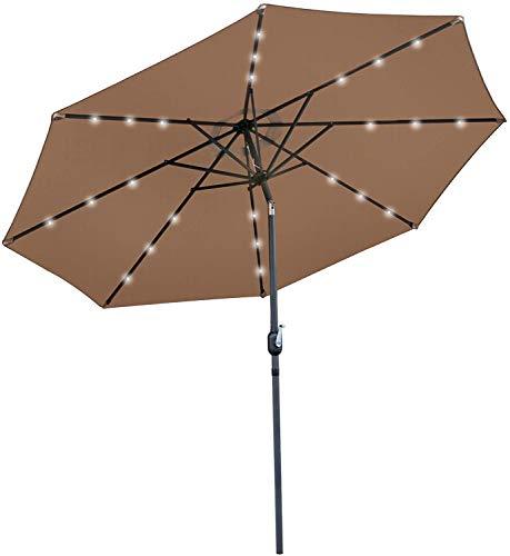 SUPER DEAL 10FT Solar LED Lighted Patio Umbrella Table Umbrella - Push Button - Tilt Adjustment&Crank Lift System - Aluminum Ribs for Patio, Garden, Backyard, Deck, Poolside, and More (Tan)