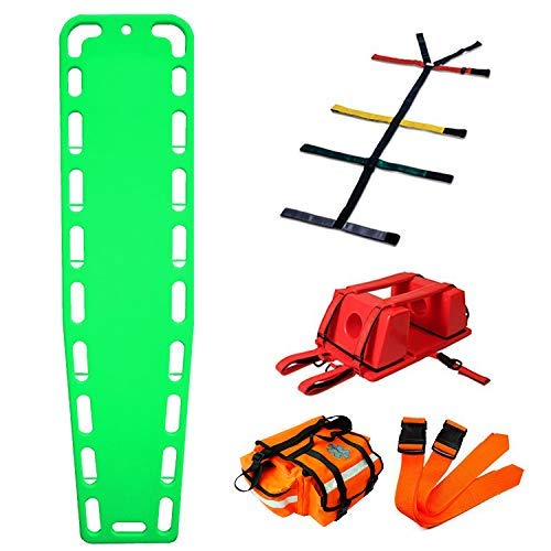 First Responder EMT Backboard Spine Board Rescue Stretcher Immobilization with Head Bed and Spider Straps - Gift EMT Trauma Bag (Green)