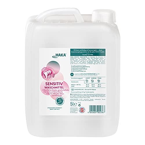 HAKA Sensitiv Waschmittel I 5 Liter I Ohne Parfüm, Enzyme, optische Aufheller