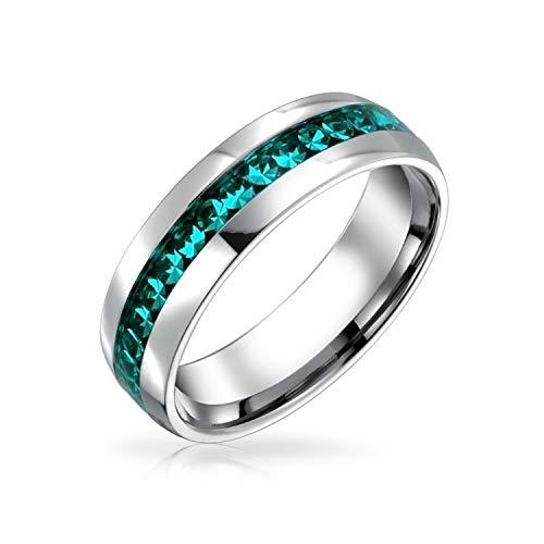 Bling Jewelry Marzo Mes Nacimiento del Canal Color Aguamarina Cristal Eternidad Juego Mujer Y para Hombres Acerotonos Plata