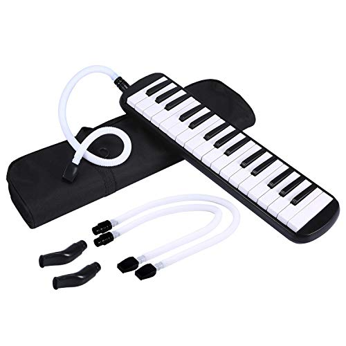 Asmuse™ 32 Note Melodica Nasum Melodika Kinder Black Includes Tube Mouthpiece and Carry Case