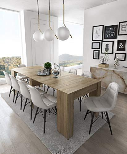 Home Innovation- Konsoletisch, Esstisch ausziehbar bis 237 cm, Esszimmertisch und Wohnzimmertisch, rechteckig, Farbe Eiche hell, Maße geschlossen: 90x50x78 cm hoch. Bis zu 10 Sitzplätze