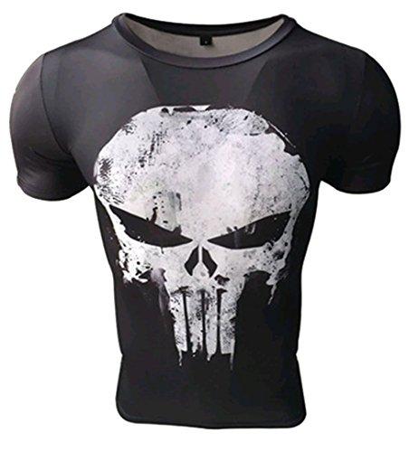 Camiseta compresiva Hombre de Licra para Deporte. Manga Corta ceñida de Licra. (Castigador) - XXL