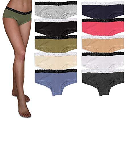 Sexy Basics Womens Lace Underwear Boyshort -Boyleg Panties Cotton-Spandex / Ultra-Soft Cotton Stretch Underwear- 10 PACK COLORS (10 Pack-Core Solids/ Assortment 1, 3X)