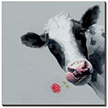 3Hdeko - Cow Painting Animal Pictures Wall Art for Bedroom Living Room Office Decor, Hand Painted Cattle Oil Painting on Canvas, Ready to Hang (30x30inch)