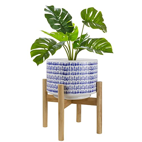 Large Ceramic Plant Pot with Stand - 9.4 Inch Modern Cylinder Indoor...