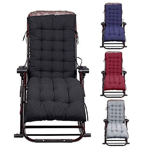 Coussin de chaise longue, en PEP épais, pour l'intérieur/l'extérieur, 155 cm environ, généreusement rembourré 61inch * 19inch * 3 inch Noir