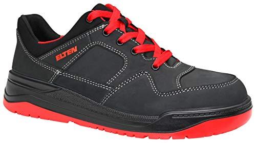 ELTEN MAVERICK - Zapatillas de seguridad de bajo nivel ESD S3, estilo de baloncesto, piel nobuck impermeable, puntera de acero, forro textil, 48, blanco/rojo, 1