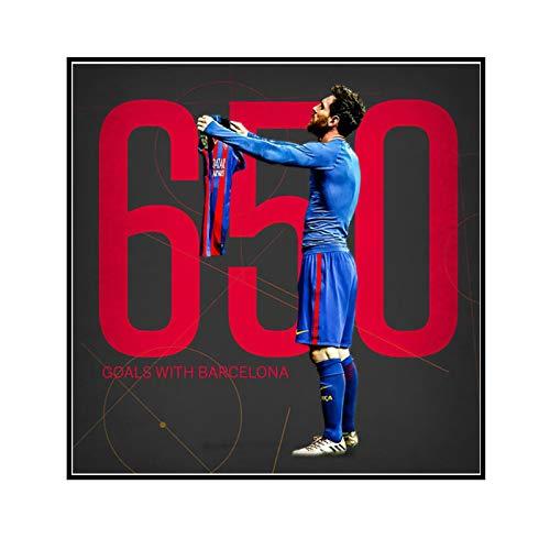 ADNHWAN Conmemora a la Estrella del fútbol Lionel Messi 650 goles con el póster de Lienzo de Barcelona e impresión Arte de la Pared Sala de Estar Decoración para el hogar -24X24 Pulgadas Sin Marco