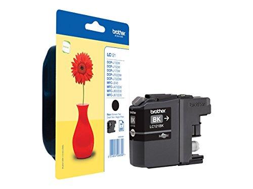Brother lc121bk–Negro–original–cartucho de tinta para DCP J100, J105, j132W, j132W, j552dw, DCP-J752DW MFC-J470DW, J245, MFC-J650DW, MFC-J870DW cartucho de tinta LC-121BK/Negro/hasta 300páginas/para MFC DCP-J752DW (cantidad = 5)