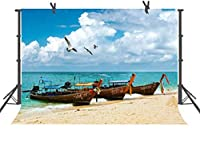HDビーチの背景海辺の釣りボート青空白い雲自然風景写真の背景屋内壁紙写真スタジオ小道具10x7ftLYFU491