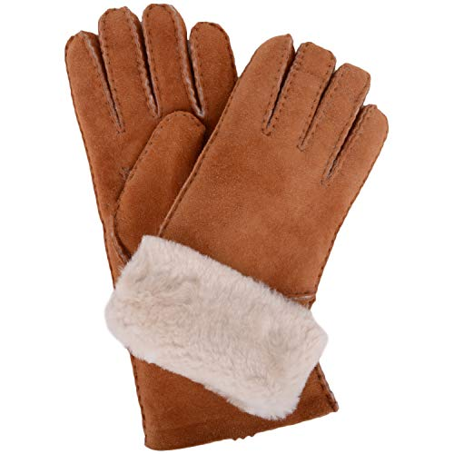 Damen-Luxus-Lammfell Handschuhe mit Falten Stulpe. Tan. Größe - Medium