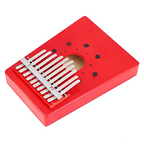 Tragbares Fingerpiano 10 Tasten Wood Thumb Piano Thumb Piano Freunde für die Familie(red)
