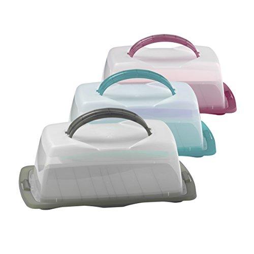 Kuchenbehälter Kunststoff rechteckig petrol, grau & purple, Form:rechteckig