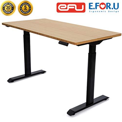 E.For.U® Q6 Elektrisch Höhenverstellbarer Schreibtisch + Bambus Echtholz Tischplatte(140x70 cm) höhenverstellbares Tischgestell 2 Motoren,2-Fach-Teleskop, mit Memory-Steuerung(Schwarz)
