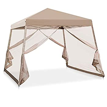 COOS BAY 10  x 10  Slant Leg Pop Up Canopy Tent w/ Mosquito Netting  64 Square Feet of Shade  One Person Set-up Outdoor Instant Folding Shelter  Beige