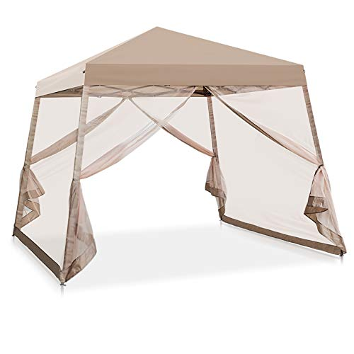 COOS BAY 10' x 10' Slant Leg Pop Up Canopy Tent w/ Mosquito Netting (64 Square Feet of Shade) One Person Set-up Outdoor Instant Folding Shelter (Beige)