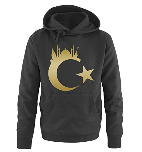 Comedy Shirts Türkei - Wappen - Istanbul - Herren Hoodie - Schwarz/Gold Gr. L