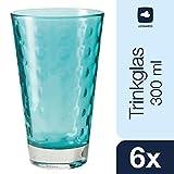 Leonardo 014775 Set 6 Becher Wassergläser groß Optic, spülmaschinenfest, Laguna türkis/blau