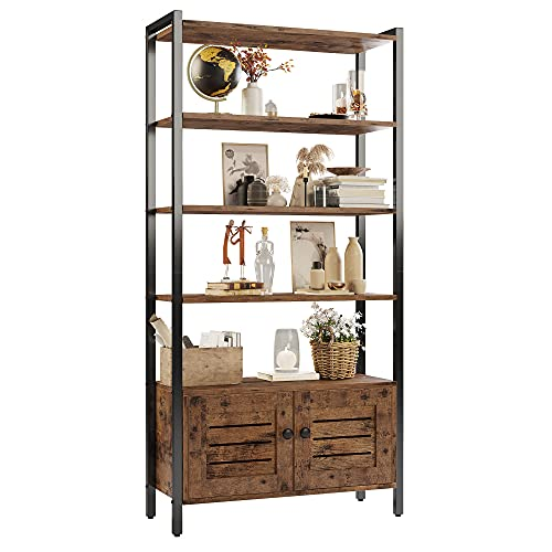 IRONCK Industrial Bookshelf and Bookcase with 2 Louvered Doors and 4 Shelves, Standing Storage Cabinet for Living Room, Home Office, Bedroom, Washroom, Vintage Brown