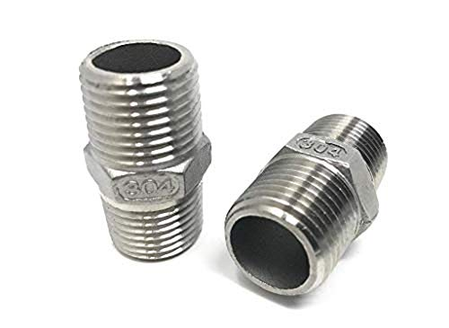 CONCORD 304 Stainless Steel 1/2 NPT to 1/2 NPT Hex Nipple Home Brew. 2 Pack