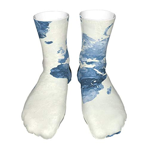 Smooffly World Map Breathable Ankle Athletic Socks Soft Warm Thick Casual Crew Socks Unisex