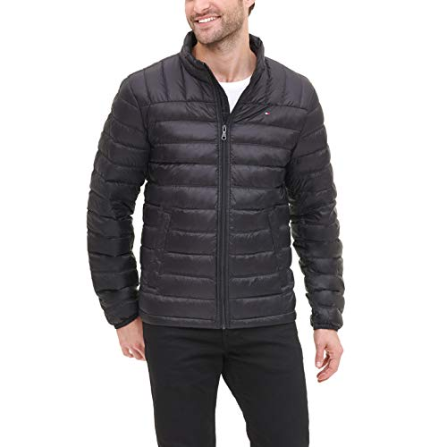 Tommy Hilfiger Men's Lightweight Water Resistant Packable Down Puffer Jacket (Standard and Big & Tall), Black, Large