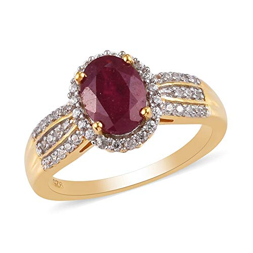 TJC Ruby Halo Ring for Women in 14ct Gold Plated 925 Sterling Silver Anniversary Jewellery with White Zircon, TCW 1.84ct