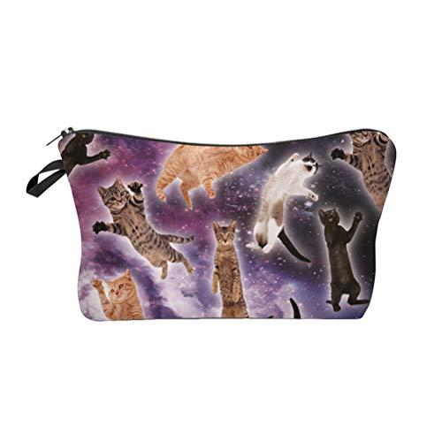 Lurrose Trousse de maquillage Space Cat - Pochette étanche à glissière pratique pour le maquillage ou le crayon (étoilé)