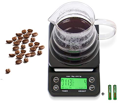 HuiSmart Coffee Scale with Timer 0.1g Precision Sensors, 6.6lb/3kg Food Scale and Timer Batteries Included, Black with Green Backlit