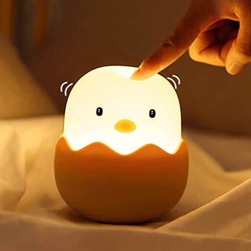 Luz de Noche Infantil , solawill Luz de Noche Suave Silicona Pollito Bebés control táctil luz cálida regulable, Lámpara Infantil LED USB Recargable para Infantiles Dormitorio Decoración Regalo