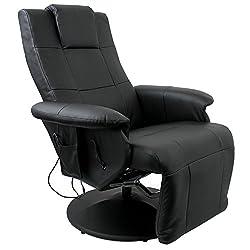 Luxus Shiatsu Massagesessel Entspannungssessel Relaxsessel Fernsehsessel mit Massage Sitzheizung verstellbares Fußteil Beinstütze PU Kunstleder Schwarz