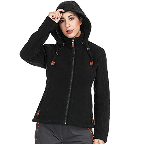 MIER Damen Heavy Fleece Jacke Full Zip Soft Micro Fleece Oberbekleidung mit Abnehmbarer Kapuze, ohne Fusseln, Damen, Black - Double Layered Hood, X-Small
